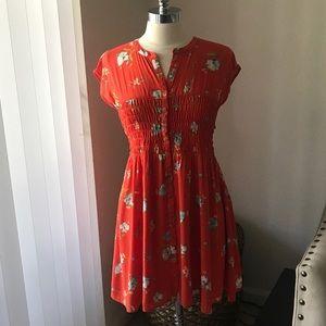 Free people flowy orange floral dress Sz M